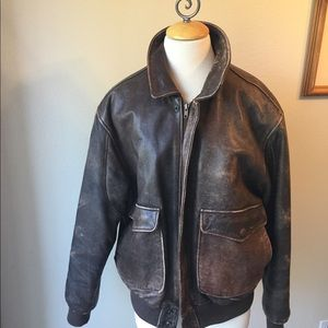 John Ashford distressed leather jacket. Size L